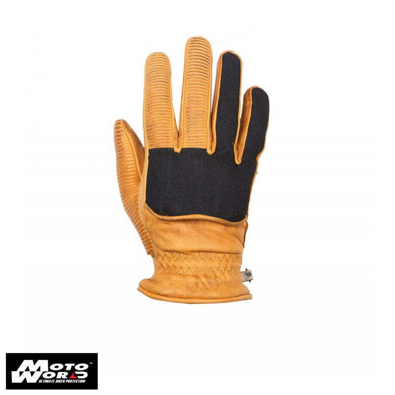 Helstons Ranchero Leather Gold Denym Gloves