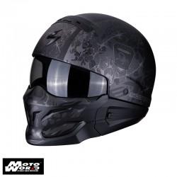 Scorpion EXO-Combat Stealth Matt-Black-Silver Jet Motorcycle Helmet