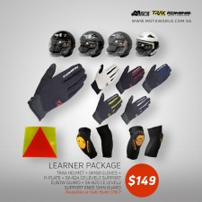 Trax TR06ZRR Open Face Helmet + Komine GK 168 Ride Mesh Gloves + Komine SK-824 CE Level 2 Support Elbow Guard + Komine SK-825 CE Level 2 Support Knee Skin Guard + PPlate 3M Sticker - Only for New Riders