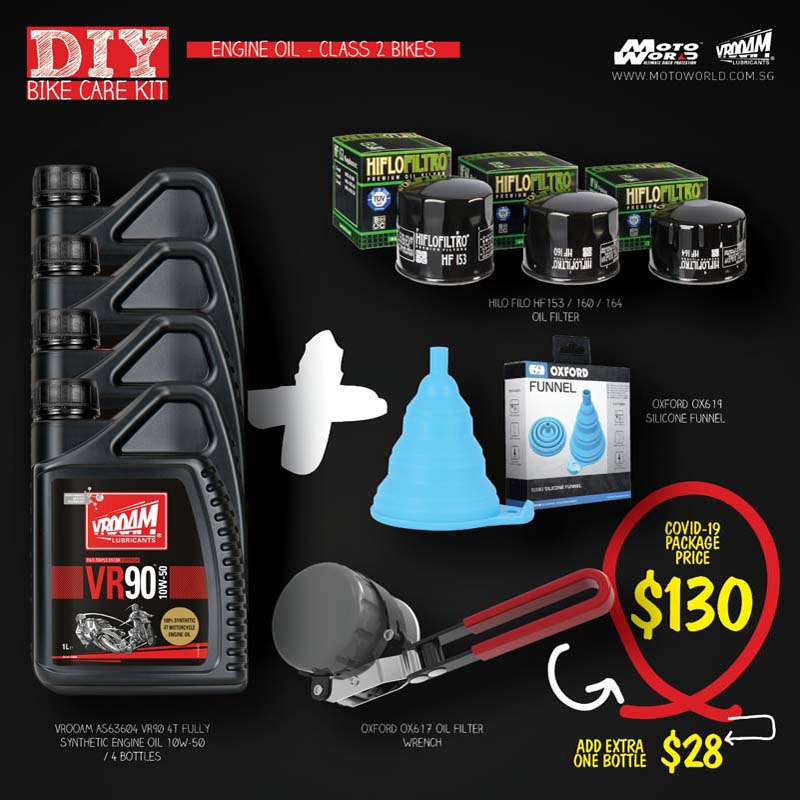 Engine Oil Class 2 Bikes Kit Bundle - Vrooam DIY Bike Care Kits
