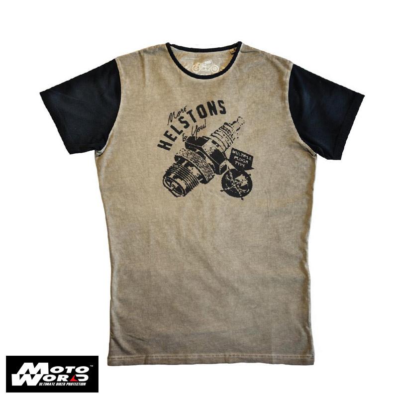 Helstons Sparks Cotton T-Shirt- Beige/Black