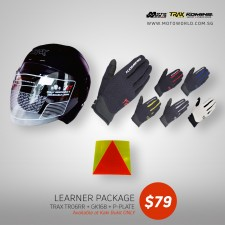 Trax TR06ZRR Open Face Helmet + Komine GK 168 Ride Mesh Gloves + PPlate 3M Sticker - Only for New Riders