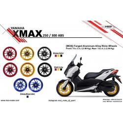 MOS YB74FG10011 Matt Red Forged Aluminum Alloy Wheels Set for Yamaha X-Max 10