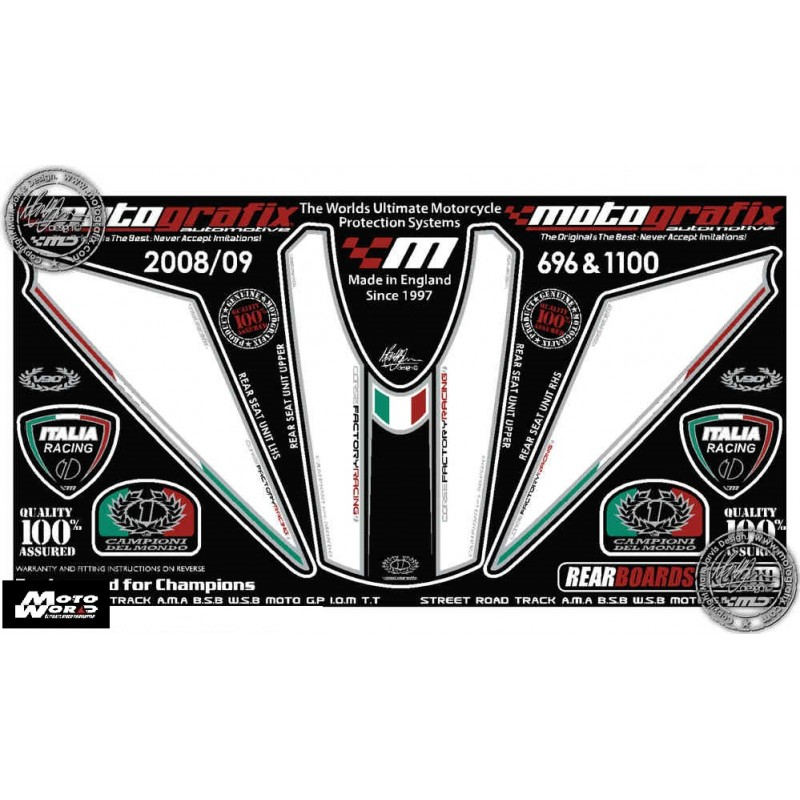 Motografix CAD RD011U Ducati 696 796 1100 2008 2009 Motorcycle Rear Seat Unit Paint Protector