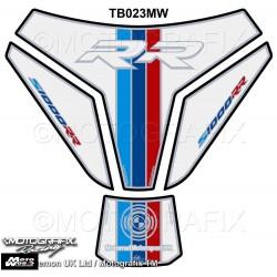 Motografix CAD TB023MW BMW S1000RR 2015 2016 White M Sport Edition Motorcycle Tank Pad Protector 3D Gel