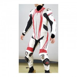 Komine S48 White Red Titanium Leather Suit Ravenna