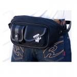 Komine SA061 Motorcycle Vintage Tandem Waist Bag-Black