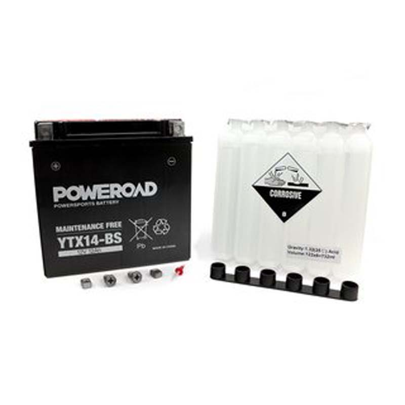 Poweroad YTX14-BS MF-AGM Maintenance Free Motorcycle Battery