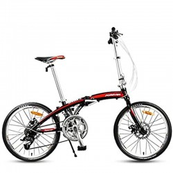 """Forever 26"""" Black Red Spokes Wheel 21 Speed Folding Bicycle"""