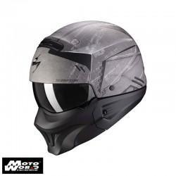 Scorpion EXO Combat Evo Incursion Matt Silver Black Modular Motorcycle Helmet