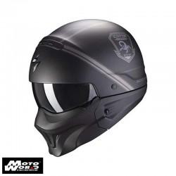 Scorpion EXO Combat Evo Unborn Matt Black Silver Modular Motorcycle Helmet