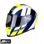 Scorpion EXO10291241 R1 Air Corpus White-Blue-Fluo-Yellow Racing Motorcycle Helmet