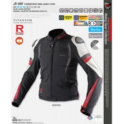 Komine JK-089 Titanium Sports Mesh Jacket - Ivory/Red