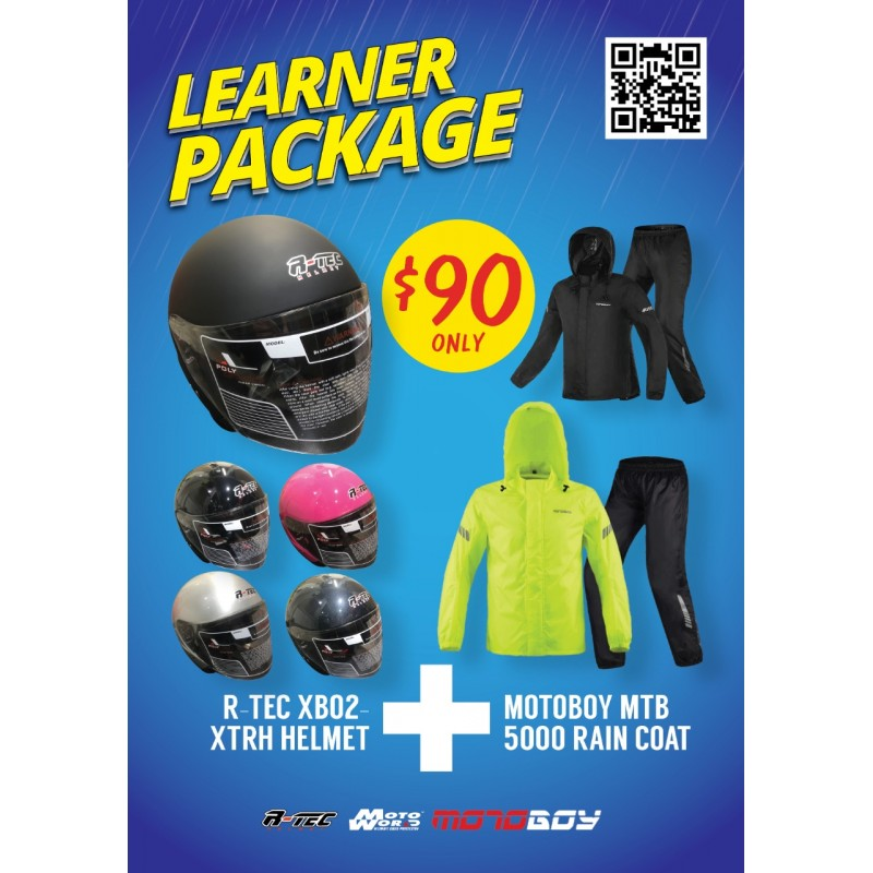 RTEC XBO2-XTRH Open Face Motorcycle Helmet + Motoboy MTB 5000 Rain Coat + Only for New Riders