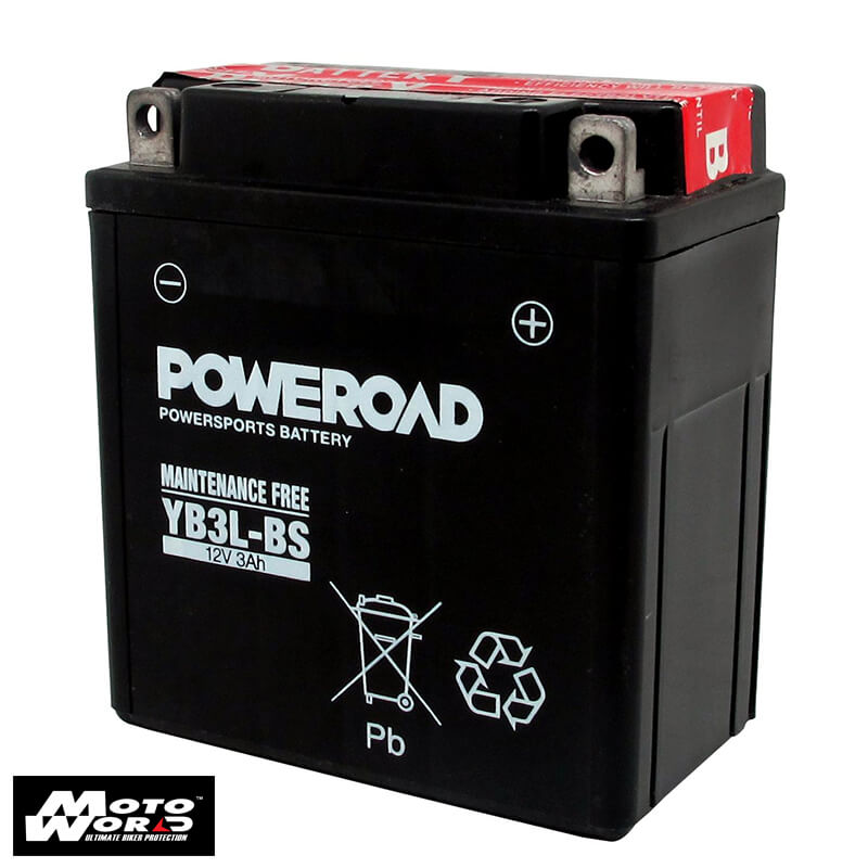 Poweroad YB3L-BS 12V3AH Powersports Maintenance Free Motorcycle Battery