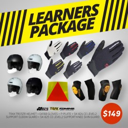 Trax TR06ZRR Open Face Helmet - PSB Approved + Komine GK 168 Ride Mesh Gloves + Komine SK-824 CE Level 2 Support Elbow Guard + Komine SK-825 CE Level 2 Support Knee Skin Guard + PPlate 3M Sticker - Only for New Riders