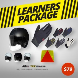 Trax TR06ZRR Open Face Helmet - PSB Approved + Komine GK 168 Ride Mesh Gloves + PPlate 3M Sticker - Only for New Riders