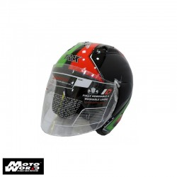 Trax TR03ZR Open Face Motorcycle Helmet - Black-Italia