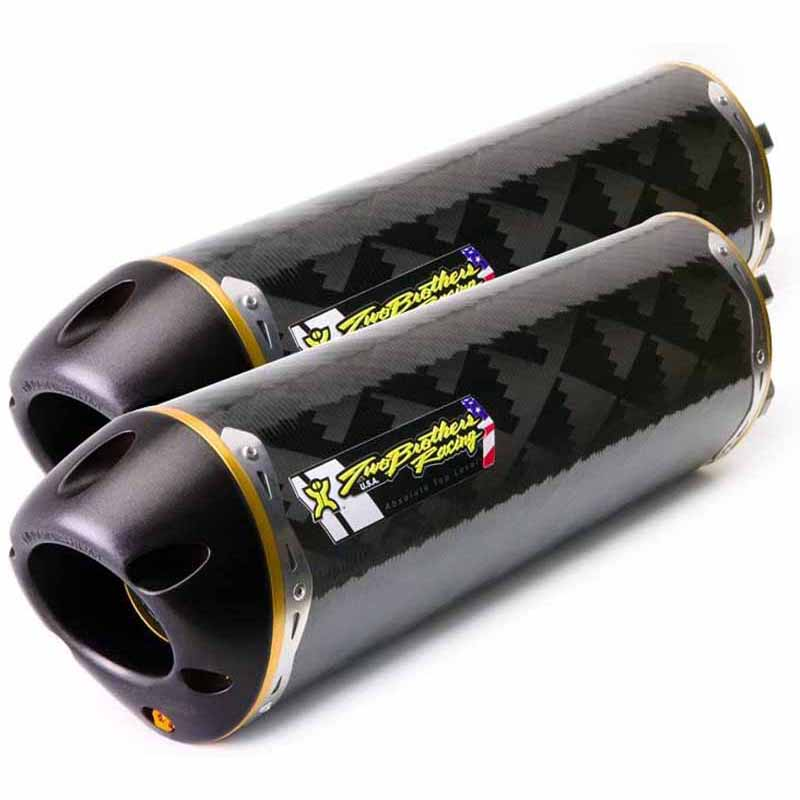 Two Brothers Racing 0053160407DV Standard Series M-2 Carbon Fiber Canister Dual Slip-On Exhaust System