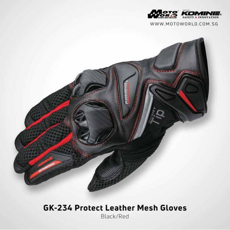 Komine GK234 Protect Leather Mesh Gloves