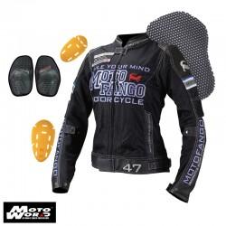Komine MJ 001 Riding Leather Mesh Jacket Black