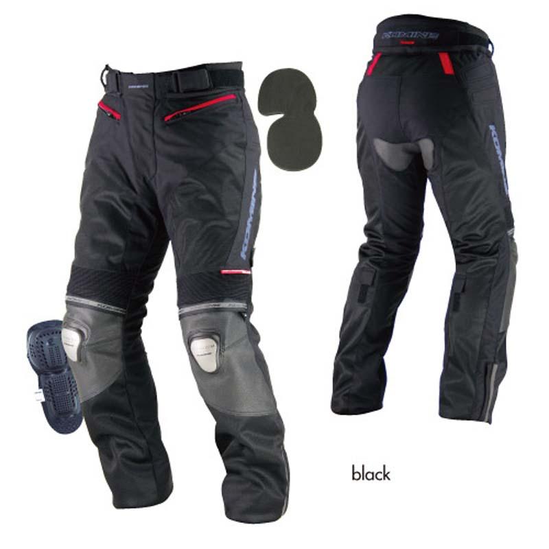 Komine PK 712 Titanium Leather Mesh Pants Riga   Black