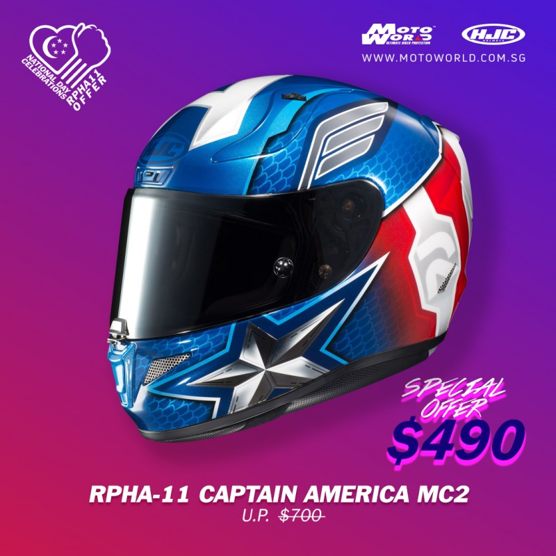HJC RPHA 11 Captain American Full Face Motorcycle Helmet