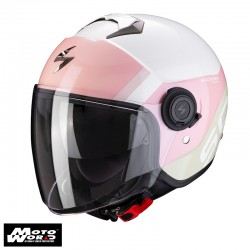 Scorpion EXO City Sympa White Coral Green Jet Motorcycle Helmet S