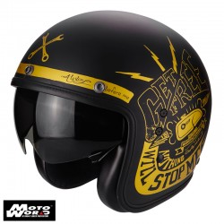 Scorpion Belfast Fender Classic Motorcycle Helmet Matt Black-Gold