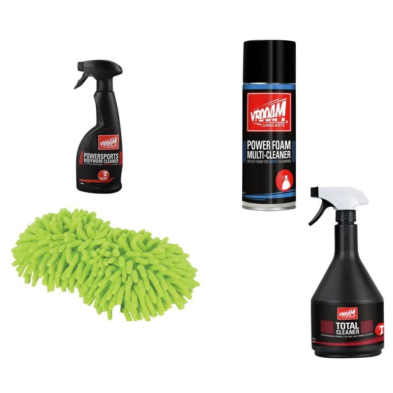 Bike Washing Kit - Vrooam DIY Bike Care Kits Total Cleaner / Power Foam Multi Cleaner / Bodyworks Cleaner / Microfibre Noodle Sponge