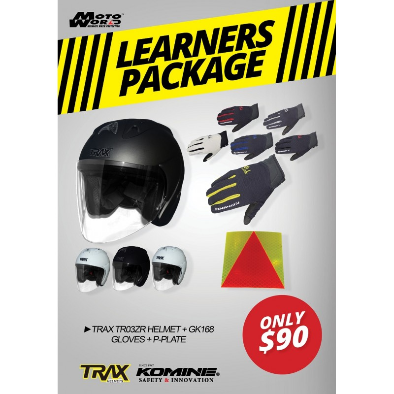 Trax TR03ZRR Open Face Helmet - PSB Approved + Komine GK 168 Ride Mesh Gloves + PPlate 3M Sticker - Only for New Riders