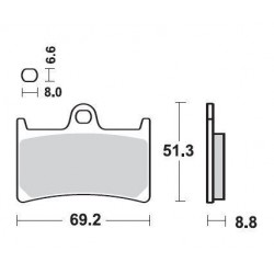 SBS 634DC Front Dual Carbon Brake Pad for Yamaha YZFR6 99