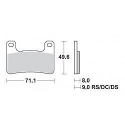 SBS 806DC Front Dual Carbon Brake Pad for Kawasaki ZX-10R 08